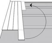 Lentos galą, kuris lieka baigiant eilę, dėkite iš naujo į naujos eilės pradžią. Nupjautas galas turi būti ne trumpesnis nei 600 mm.