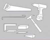 Grindlenčių tvirtinimui reikalingi įrankiai