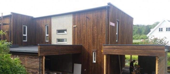 Medenio Dubble profiliu apkaltas namas atrodo moderniai ir stilingai.