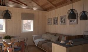 Vidaus dailylentėmis iškaltos svetainės sienos ir lubos